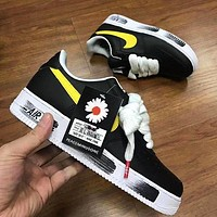 Air Force 1 Nike GD daisy black + white soles yellow hook shoes