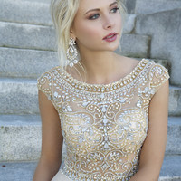 Beaded empire waist gown 88174 - Prom Dresses