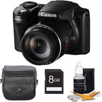 Canon PowerShot SX510 HS 12.1 MP CMOS Digital Camera with 30x Optical Zoom and 1080p Full-HD Video Deluxe Bundle With 8GB high Speed Card , DigPro Case , Cleaning Kit , And More