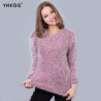 2016 WomenWomen Fashion Autumn Winter Warm Mohair O-Neck Women Pullover Long Sleeve Casual Loose Sweater Knitted Tops