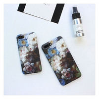 Classic Floral Phone Cases For Apple i6 iphone 6 6s 6plus 6splus 7 7 plus Flowers Hard pc back cover -0318