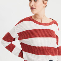 AE Rugby Stripe Sweater, Rustic Red