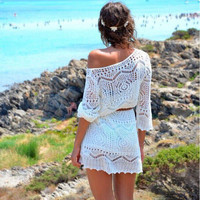 2016 Unique Limited Handmade Knitting Crochet Beach Dress Loose Blouse Bikini for Womens Summer Gift-56