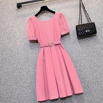 Women Fashion Pleated Dress Elegant Square Collar Puff Sleeve Girls High Waist Office OL Casual Slim Dress With Belt