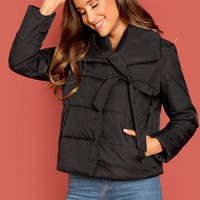 Knot Detail Solid Puffer Coat