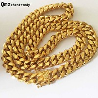 2018 New Arrival 8mm/10mm/12mm/14mm Stainless Steel Miami Curb Cuban Chain Necklaces Mens Casting Dragon Lock Clasp jewelry