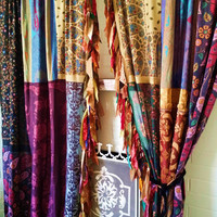 Handmade Boho Gypsy Curtains Bohemian Golden Rose Patchwork - Free Shipping