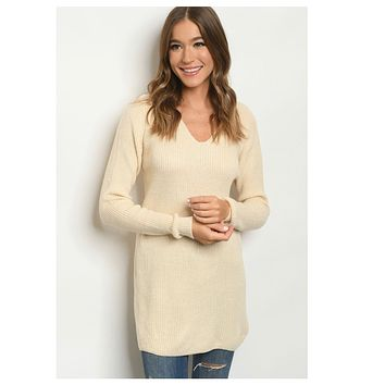 Unique Lace Up Back Cream Sweater Top