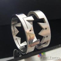 1 Pcs Kingdom Hearts Paired Crown Stainless Steel Ring Japan Anime US Size 9