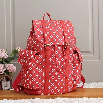 LV Louis Vuitton fashion backpack leather bag large capacity backpack red