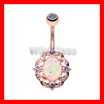 Rose Gold Opal 14g Navel Ring Florid Opal Aurora Borealis Sparkle Belly Button Ring Navel Jewelry Navel Belly Button Jewelry Belly Piercing