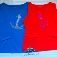 Red shirt   3/4 sleeves from cotton 100% ! Color Bright Crystal Element Swarovski. Ornament Stylish Blue Anchor.