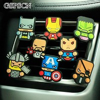 GSPSCN Cute Avengers Car Freshener perfume Conditioning vent Perfum Car Parfume air freshener With 2 solid perfume fragrance