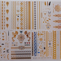 Best Flash Metallic Tattoos (8 Large Sheets) Temporary Fake Jewelry Bracelets Wrist & Arm Bands in Gold Silver & Turquoise , Non Toxic and Waterproof , Great Gift for Women & Girls to Review