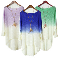 Gradient Patchwork Knit Tops Round-neck Pullover Long Sleeve Sweater [9022427652]