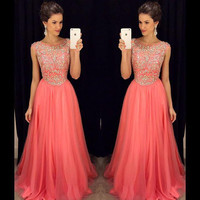Heavily Beaded Bodice Coral Long Prom Dresses 2017 Sexy Beaded Crystals A-line Sweep Train Elegant Prom Evening Dresses For Teen