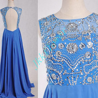 Long Royal Blue Backless Prom Dresses,Stunning Beaded Crystal Prom Dresses 2015,Formal Party Evening Dresses,Homecoming Dress