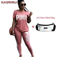 RAISEVERN Pink Letter Print Women Suits 2 Two Piece Set Top And Pants Tracksuit Casual Outfit Sweatshirt Women Sweatsuits 2018