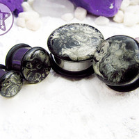 "Moon Rock Abstract Handpainted Faux Stone Plug / Gauge ONE Plug Only 4g, 2g, 0g, 00g, 7/16"" / 5mm, 6mm, 8mm, 10mm, 11mm"