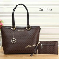 MICHAEL KORS trendy ladies shopping bag leather handbag two-piece suit F-KSPJ-BBDL Coffee