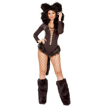 Sexy Catwoman Hooded Faux Fur Lace-up Romper with Tail
