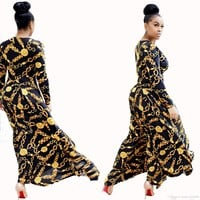 Hot Sale New Fashion Design Traditional African Clothing Print Dashiki Nice Neck African Dresses for Women 2019