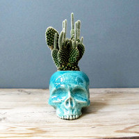 Turquoise Blue Skull Planter - perfect for cactus succulent or air plant - Made to Order