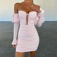 2020 new women's lace tube top one shoulder long sleeve dress