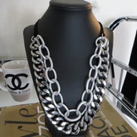 Double Layer Silver and Gunemtal Chunky Chain Necklace