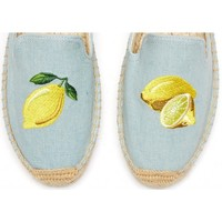Soludos Lemon Embroidered Platform Smoking Slipper in Chambray - Soludos Espadrilles