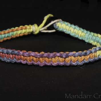 LGBTQ Pride Bracelet, Unisex Macrame Hemp Jewelry for LGBTQ and Allies, All Sizes Available