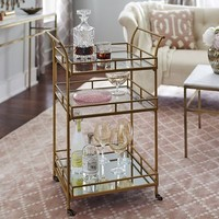 Square 3-Tier Bar Cart - Gold