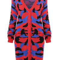 Red Camo Print Buttoned Cardigan