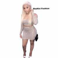 Women Sexy Two Piece Off The Shoulder Long Sleeve Mesh Rhinestone Crop Top Skirt Set