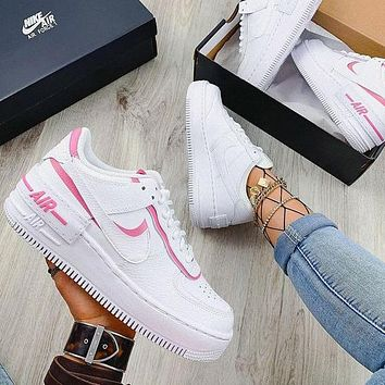 NIKE Air Force 1 Shadow Hot Sale Women Casual Sport Running Shoes Sneakers White&Pink