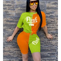 Onewel Victoria's Secret TrendingT Shirt Shorts Two Piece Suit PINK Print Green+Orange