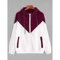 Color Block Drawstring Hooded Zip Up Jacket Multicolor