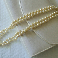 Vintage Necklace Faux Pearl Single Strand Wedding Bridal Party Bride Special Occasion Gift Christmas Holiday Birthday Anniversary