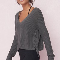 Lace-Up Side Sweater