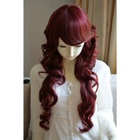 Liz Wig Duchess Style Heat Friendly Long Curly Wavy Princess Cosplay Party Hair Wig 31'' 80cm (Wine Red)