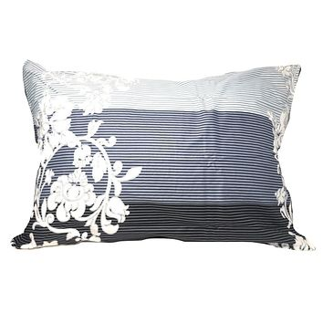 """DaDa Bedding Set of Two Navy Blue Floral Striped Pillowcases, Queen 20"""" x 30"""", 2-PCS (8153)"""
