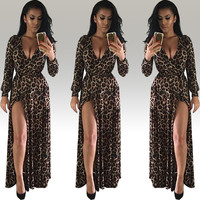 Leopard Print Long Sleeve Deep V-Neck Elastic Waist Front Slit Maxi Dress