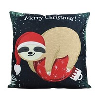 A Merry Little Christmas Sloth| Pillow Cover | 18 x 18 Holiday | Christmas Decor