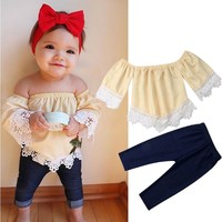 Toddler Kid Baby Girl Outfit Clothes Off Shoulder Shirt T-shirt Tops Pants Jeans