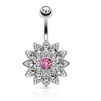 BodyJ4You Belly Button Ring Crystal Pink Jeweled CZ Flower Piercing Jewelry
