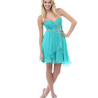 Jade Gem & Sequin Ruched Sweetheart Strapless Short Dress Homecoming 2014