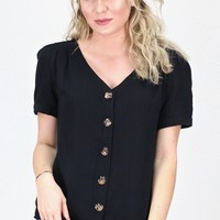 Cinched Back Button Down Blouse {Black}