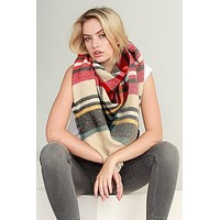 Cream, Red and Black Blanket Scarf