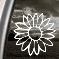"Bargain Max Flower Sunflower White Sticker Decal Notebook Car Laptop 5.5"" (White)"