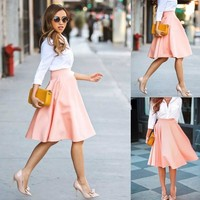 Fashion Women A-Line Pleated Polyester Midi Skirts Office Ladies Ball Dresses = 5660123137